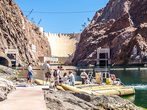 Boarding the boat for the Colorado River float trip