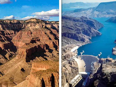 Fly over the Grand Canyon and see the Hoover Dam