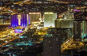 Helicopter Night Flight takes you to the Las Vegas Welcome Sign