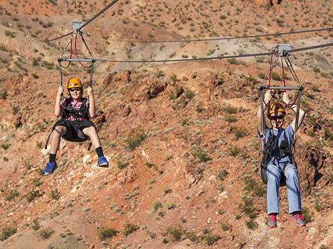 Ziping down the zipline at almost 60 miles per hour